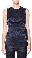 Victoria Beckham Belted Backless Sleeveless Velvet Top, Navy