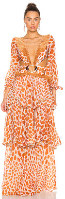PatBO Margot Fringe Trim Maxi Dress