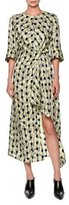Marni Twisted Garland-Print 3/4-Sleeve Dress, Green/Multi