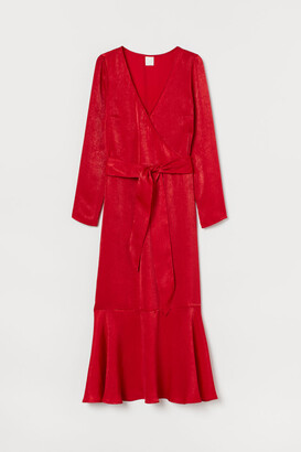 H&M Shimmering Satin Dress - Red