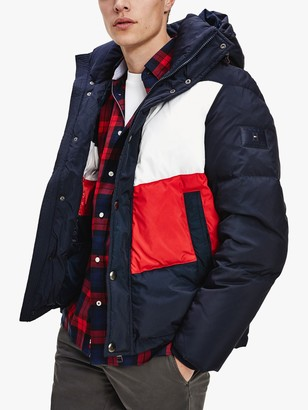 Tommy Hilfiger Hooded Chevron Colour Block Puffer Jacket, Desert Sky