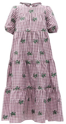 RED Valentino May Lily-embroidered Gingham Taffeta Dress - Burgundy