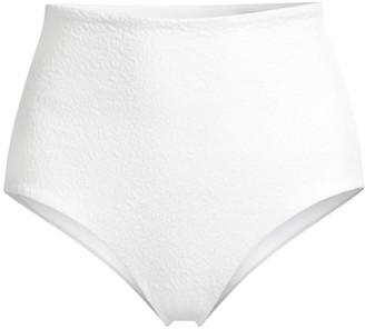 Mara Hoffman Lydia Textured High-Waist Bikini Bottoms
