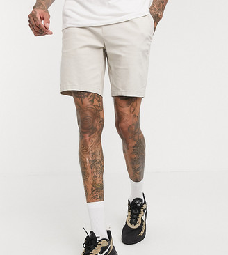 ASOS DESIGN Tall skinny chino shorts with elastic waist in beige