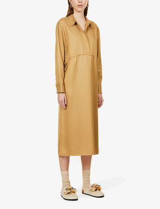 Theory Collared drawstring-waist woven midi dress