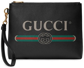 Gucci Logo Print Clutch Bag