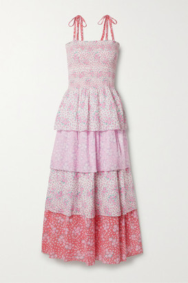 LoveShackFancy Caressa Shirred Tiered Floral-print Swiss-dot Cotton Maxi Dress - Baby pink