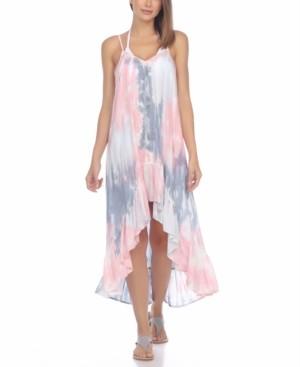 Raviya Tie-Dye Crochet-Trim High-Low Cover-Up Dress Women's Swimsuit