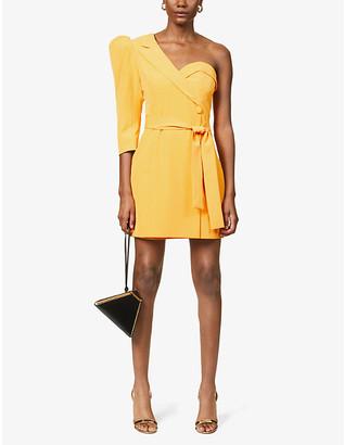 Lavish Alice One-shoulder crepe mini dress