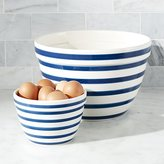 Crate & Barrel Navy and White Striped Mixing Bowls