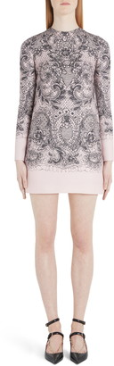 Valentino Lace Print Long Sleeve Crepe Minidress
