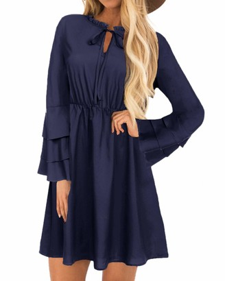 YOINS Women Long Sleeve Mini Dresses Ladies Wedding Elegant Dress Spring Round Neck Long Shirt Loose Tunic Dresses B-Navy S