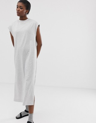 Weekday sleeveless midi jersey dress in grey melange