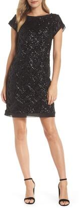 Eliza J Extended Cap Sleeve Sequin Sheath Dress