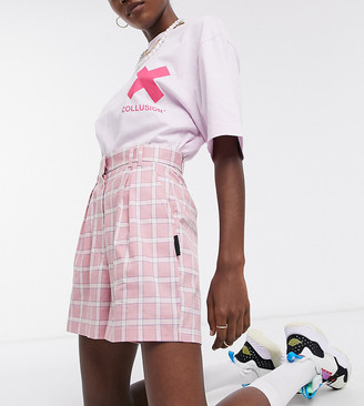 Collusion high waist shorts in pink check