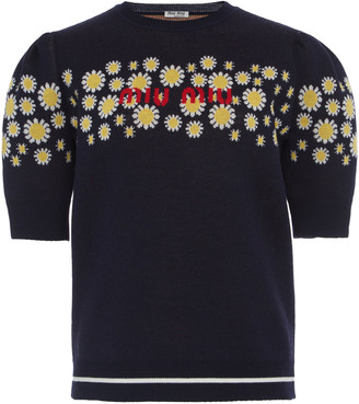 Miu Miu Embroidered Logo Pullover