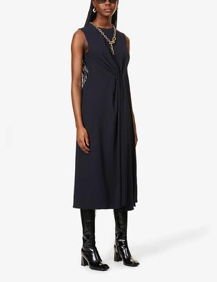 Victoria Beckham Pin-embellished sleeveless crepe midi dress