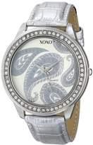 XOXO Women's XO3184 Silver Dial Silver Crocodile Genuine Leather Watch