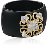 "Kenneth Jay Lane CZ by Classic"" Round Cubic Zirconia with Lace Diamond Filigree Design Hinged Cuff Bracelet, 8 CTTW"