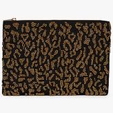John Lewis Beaded Pouch Clutch Bag, Leopard