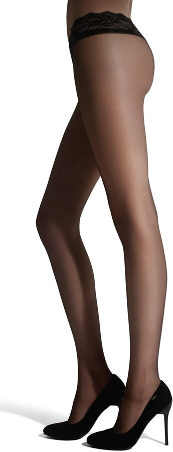 Marilyn erotic transparent Huftstrumpfhose with lace 15 denier size 36 (S)