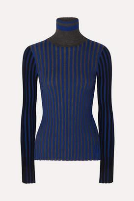 Sonia Rykiel Striped Cashmere Turtleneck Sweater - Blue