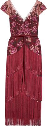 Marchesa Notte Fringed Embellished Tulle Midi Dress