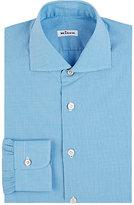 Kiton Men's Micro-Gingham Shirt-TURQUOISE