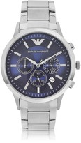 Emporio Armani Men's Blue Dial Stainless Steel Chrono Watch