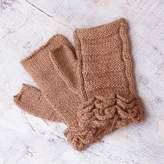 Alpaca Wool Fingerless Gloves, 'Nutmeg Petals'