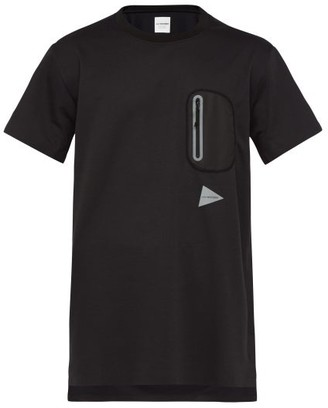 And Wander - Logo-print Longline Performance T-shirt - Mens - Black
