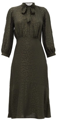 Cefinn Daria Leopard-jacquard Midi Dress - Khaki