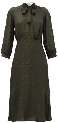 Cefinn - Daria Leopard-jacquard Midi Dress - Womens - Khaki