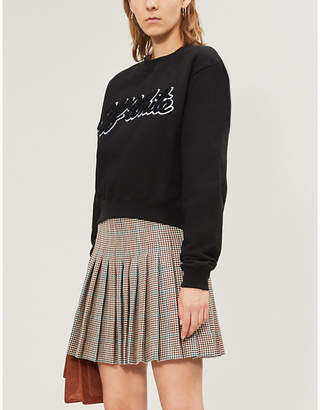 Off-White Branded cropped cotton-jersey jumper
