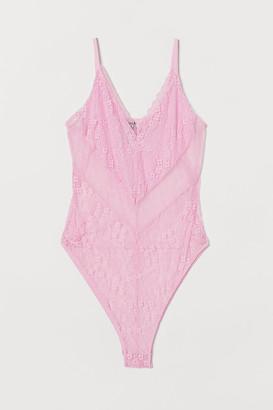 H&M Lace V-neck Bodysuit