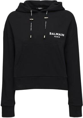 Balmain Logo Cotton Jersey Sweatshirt Hoodie