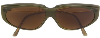 Moschino Pre Owned Slim Winged Oval Sunglasses