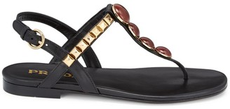Prada Embellished T-Strap Leather Sandals