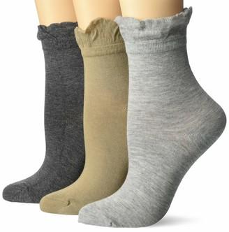 Lemon Women's 3 Pack Silk Summer Ruffle Anklet Socks Charcoal OS