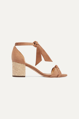Alexandre Birman Clarita Bow-embellished Suede And Boucle Sandals - Beige