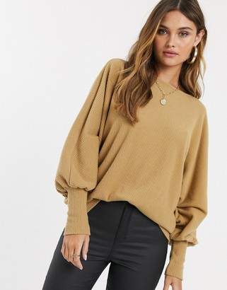 Y.A.S rib knitted batwing jumper in brown-Tan