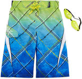 ZeroXposur Zero Xposur Graphic Swim Trunks with Goggles - Boys 8-20