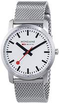 Mondaine Unisex Quartz Watch with White Dial Analogue Display and Silver Stainless Steel Bracelet A400.30351.16SBM