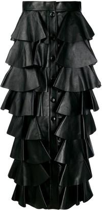 Saint Laurent Tiered-Design Midi Skirt