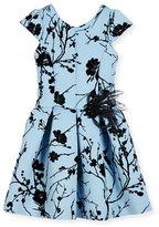Zoe Sky Silhouette Box-Pleated Dress, Blue, Size 7-16
