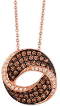 "LeVian Le Vian Chocolatier Diamond Swirl 18"" Pendant Necklace (9/10 ct. t.w.) in 14k Rose Gold"
