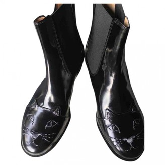 Charlotte Olympia Kitty Black Leather Ankle boots