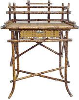 One Kings Lane Vintage Antique Bamboo & Cane Writing Desk - Vermilion Designs - brown/beige/tan/brass/natural