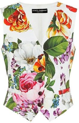 Dolce & Gabbana Floral stretch-cotton and silk vest