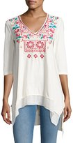 Johnny Was Raquel V-Neck Jersey Tunic, White